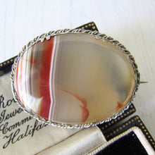 Load image into Gallery viewer, Georgian/Victorian Scottish Banded Agate Silver Brooch