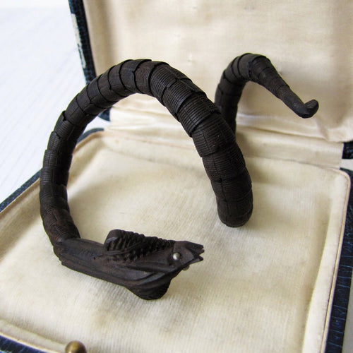 Antique Chinese Carved Victorian Snake Bracelet. Rare Black Nut Wood Articulated Coiled Cobra Bracelet With Silver Eyes.