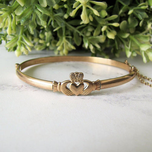 Vintage 9ct Rolled Gold Claddagh Bangle Bracelet