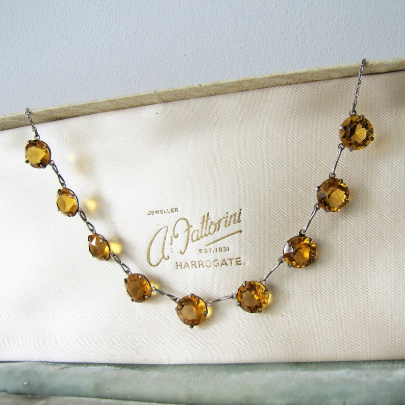 Art Deco Citrine Necklace, Sterling Silver Czech Glass Crystal Necklace. - MercyMadge