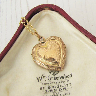 Antique Kollmar & Jourdan Rolled Gold Heart Locket