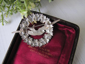 Victorian Sterling Silver Sweetheart Swallow Brooch