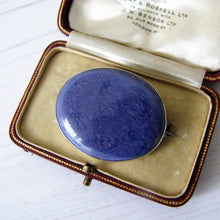 Load image into Gallery viewer, Silver Antique Arts & Crafts Blue Pottery Brooch, Signed Ruskin - MercyMadge