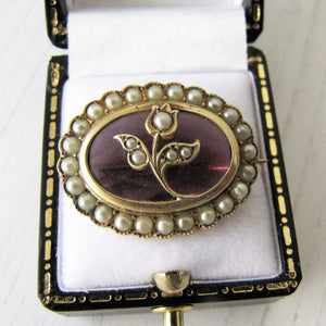 Antique 9ct Gold, Amethyst & Seed Pearl Tulip Brooch - MercyMadge