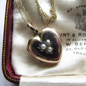Victorian 9ct Gold & Pearl Heart Locket On Chain - MercyMadge