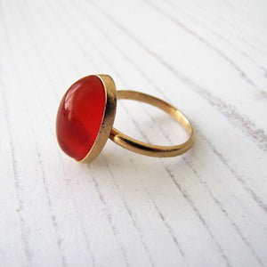 Art Deco 18ct Gold Carnelian Bezel Ring - MercyMadge
