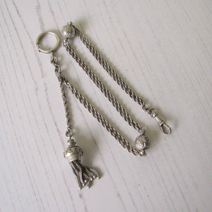 "Victorian Sterling Silver 13"" Albertina Chain With Charms, Tassel, Bolt Ring & Dog Clip"
