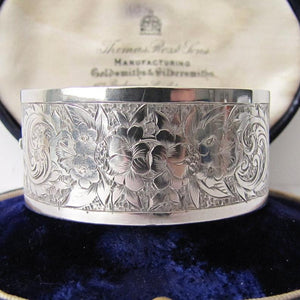 Antique Victorian Sterling Silver Cuff Bracelet, George Loveridge, Birmingham 1881