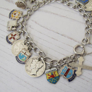 Vintage 1960s Sterling Silver Retro Charm Bracelet, World Travel