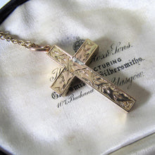 Load image into Gallery viewer, Victorian 15ct Gold Engraved Cross Pendant - MercyMadge