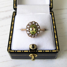 Load image into Gallery viewer, Vintage 9ct Gold Peridot & Spinel Halo Ring - MercyMadge