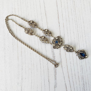 Edwardian Paste Diamond & Sapphire Lavalier Necklace