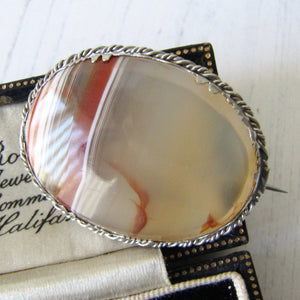Georgian/Victorian Scottish Banded Agate Silver Brooch