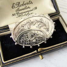 Load image into Gallery viewer, Victorian Aesthetic Silver Locket Back Brooch. - MercyMadge
