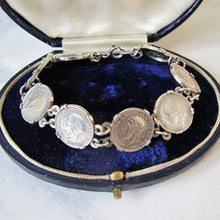 Load image into Gallery viewer, Vintage British 1930s Thrup'nny Bit Silver Coin Bracelet