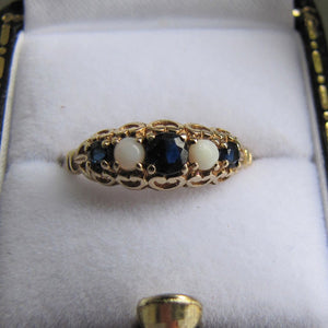 Vintage 9ct Gold, Sapphire & White Opal Victorian Style Ring, London 1984. - MercyMadge