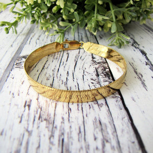 Vintage 18ct Yellow Gold Omega/Flat Snake Bracelet, Italy - MercyMadge