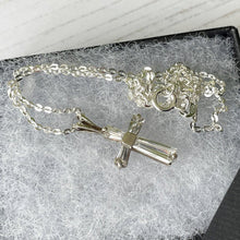 Load image into Gallery viewer, Vintage Sterling Silver Cubic Zirconia Cross Pendant