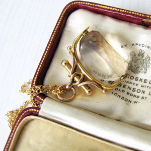 Victorian 9ct Gold Citrine Spinner Fob, Chester 1890 - MercyMadge
