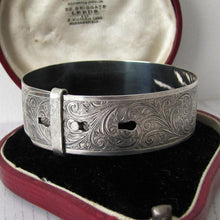 Load image into Gallery viewer, Antique English Sterling Silver Engraved Cuff Bracelet