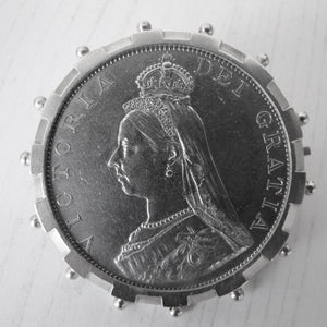 Antique English Silver Queen Victoria Coin Clip Brooch. - MercyMadge