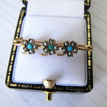 Laden Sie das Bild in den Galerie-Viewer, Antique Victorian 15ct Gold, Turquoise & Pearl Stock Pin - MercyMadge