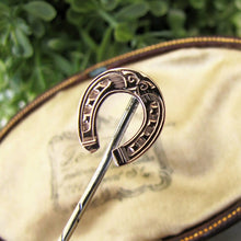 Load image into Gallery viewer, Victorian 9ct Rose Gold Engraved Horseshoe Stick Pin - MercyMadge