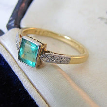 Load image into Gallery viewer, Art Deco Square Cut Emerald & Diamond Engagement Ring
