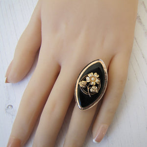 Victorian 9ct Gold, Pearl and Whitby Jet Forget-me-Not Ring