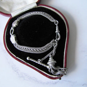 Victorian Silver Albertina Bracelet with Shell Charms, Tassel, T-Bar & Dog Clip