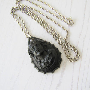 Antique Victorian Pressed Horn Mourning Pendant Necklace