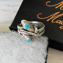 Load image into Gallery viewer, Antique Turquoise & Silver Double Snake Ring - MercyMadge