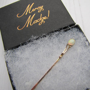 Antique 9ct Rose Gold & Opal Stock Pin - MercyMadge