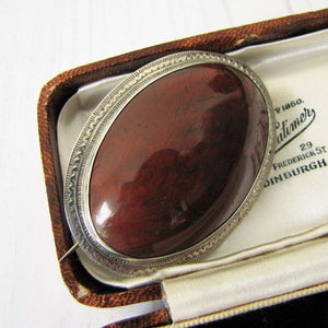 "Victorian Scottish Silver Agate Brooch With Engraved Initials ""IMP"". - MercyMadge"