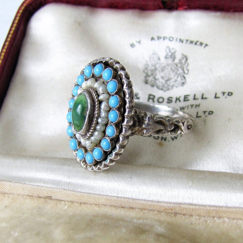 Antique Austro Hungarian Turquoise & Pearl Ring - MercyMadge