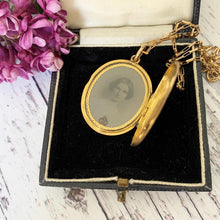 Load image into Gallery viewer, Victorian 15ct Gold Engraved Enamel Mourning Locket With Portrait & Hair, 1859 - MercyMadge
