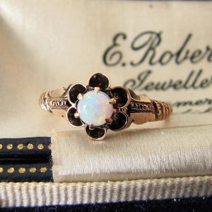 Gold Victorian Opal Flower Ring