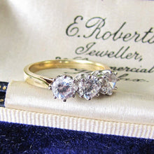 Load image into Gallery viewer, Vintage 9ct Gold & White Zircon 3 Stone Trilogy Ring, Edwardian Revival