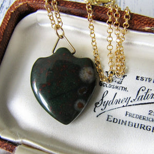 Victorian Carved Bloodstone Shield Pendant Fob - MercyMadge