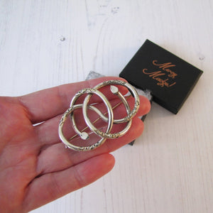 Victorian Sterling Silver Love Knot Snake Brooch.