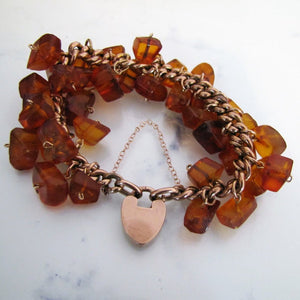 Victorian 9ct Rose Gold Amber Charm Bracelet With Heart Padlock Clasp - MercyMadge