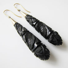 Load image into Gallery viewer, Victorian Whitby Jet Long Torpedo 9ct Gold Earrings
