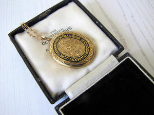 Victorian 15ct Gold Engraved Enamel Mourning Locket With Portrait & Hair, 1859 - MercyMadge