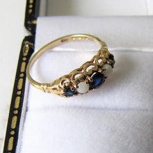 Load image into Gallery viewer, Vintage 9ct Gold, Sapphire & White Opal Victorian Style Ring, London 1984. - MercyMadge