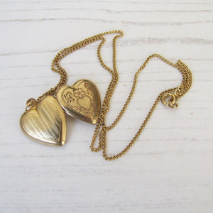 Vintage 10ct Rolled Gold Heart Locket & Chain
