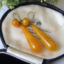 Load image into Gallery viewer, Antique Baltic Amber Torpedo Earrings