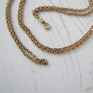 "Antique Solid 9ct Gold 56"" Guard Chain With Dog Clip"