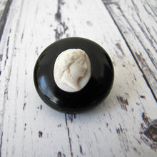 Load image into Gallery viewer, Antique Whitby Jet & Coral Cameo Brooch - MercyMadge