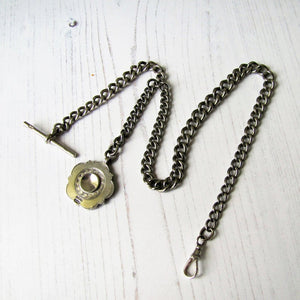 Antique Double Albert Sterling Silver Pocket Watch Chain & Fob. - MercyMadge