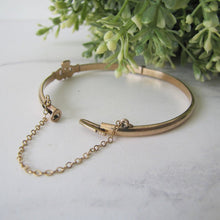 Load image into Gallery viewer, Vintage 9ct Rolled Gold Claddagh Bangle Bracelet